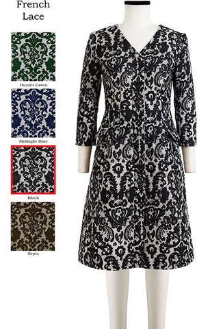 Lily Coat V Neck 3/4 Sleeve French Lace in Black