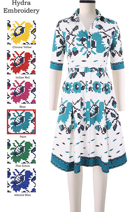 Patricia Dress #2 Shirt Collar 1/2 Sleeve Hydra Embroidery in Aqua