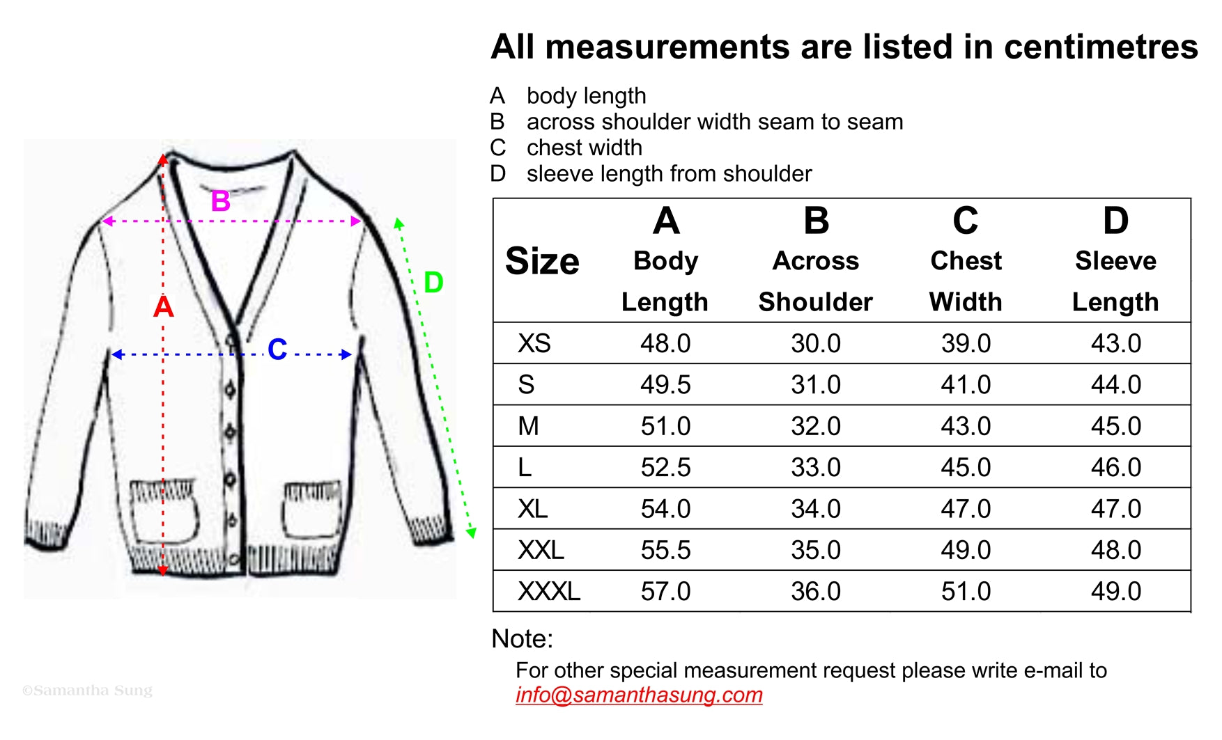 Charlotte Cardigan Short Size Chart CM Spec By Samantha Sung