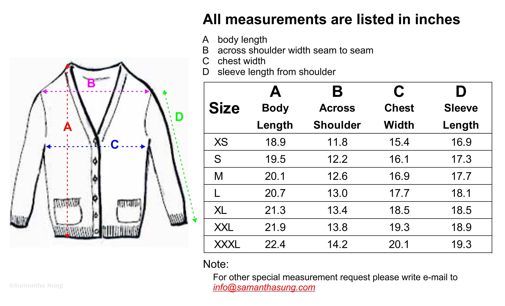 Charlotte Cardigan Short Size Chart INCH Spec By Samantha Sung