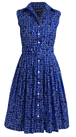 Audrey Dress #1_African Dots Bright in Admiral Blue_Cotton Stretch_Shirt Collar Sleeveless