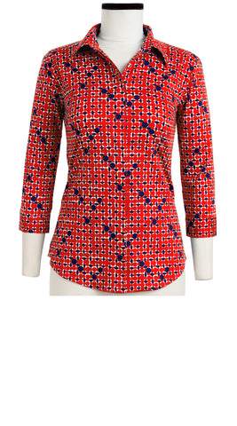 Katharine Shirt 3/4 Sleeve Cotton Stretch (African Dots Bright)