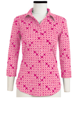 Katharine Shirt 3/4 Sleeve Cotton Stretch (African Dots Pastel)