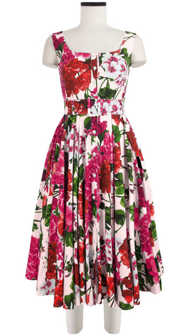Gigi Dress Open U Neck Sleeveless Cotton Stretch (Bougainvillea Blossom)