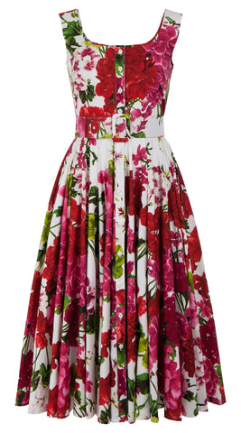 Gigi Dress Open U Neck Sleeveless Midi Length Cotton Stretch (Bougainvillea Blossom)