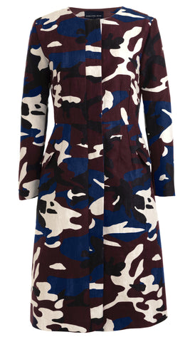 Lily Coat Jewel Neck Long Sleeve Cotton Double Twill (Camouflage)