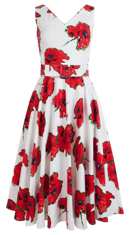 April Dress Open V Neck Sleeveless Midi Cotton Stretch (Canon Poppy Large)