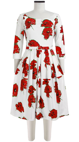 Rachel Dress Boat Neck 3/4 Sleeve Cotton Stretch (Canon Poppy Small)