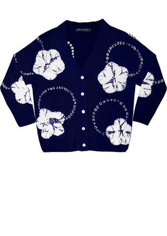 Charlotte Cardigan 3/4 Sleeve (Flower Ring Shibori)