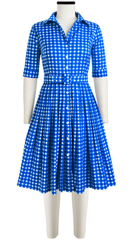 Audrey Dress #2 Shirt Collar 1/2 Sleeve Cotton Stretch (Checkers Bright)