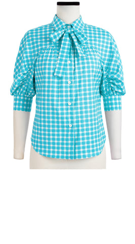 Karen Shirt 3/4 Sleeve Cotton Stretch (Checkers Pastel)