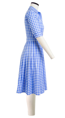 Audrey Dress #2 Shirt Collar 1/2 Sleeve Cotton Stretch (Checkers Pastel)