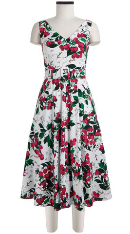April Dress Open V Neck Sleeveless Midi Length Cotton Stretch (Cherry Blossom White)