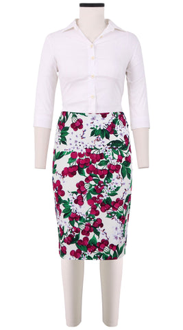 Chloe Skirt Cotton Dobby Stretch (Cherry Blossom White)