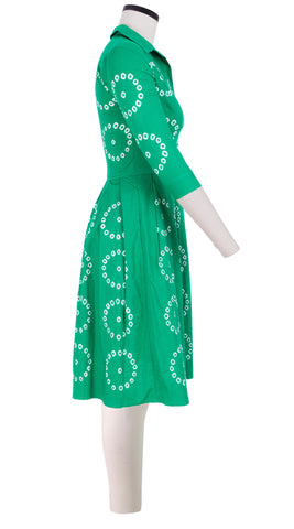 3/4 Sleeve | Circle Ring Shibori | Pine Green | Right | Shirt Dress By Samantha Sung