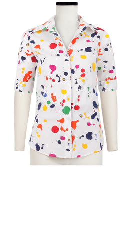 Katharine Shirt 1/2 Sleeve Cotton Stretch (Color Drip)