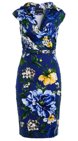 Laudine Dress V Collar Pleats Cap Sleeve Cotton Dobby Stretch (Copacabana Flower Blue)