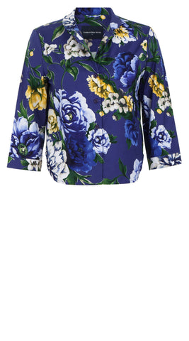 Ann Shirt 3/4 Sleeve Cotton Stretch (Copacabana Flower Blue)