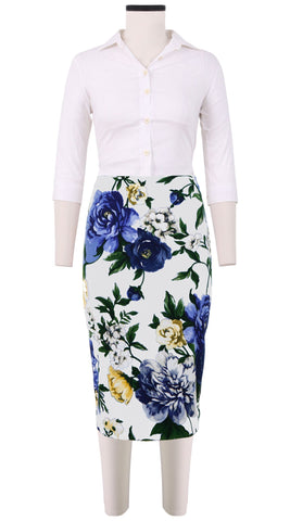 Chloe Skirt Cotton Dobby Stretch (Copacabana Flower Blue)