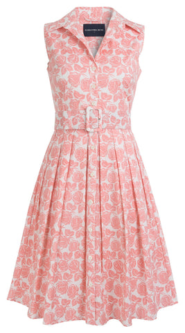 Audrey Dress #1 Shirt Collar Sleeveless Cotton Stretch (Corfu Rose)