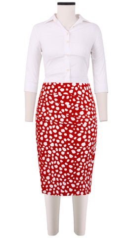 Annette Skirt Cotton Stretch (Dalmatian Ground)