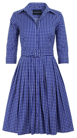 Audrey Dress #2 Shirt Collar 3/4 Sleeve Cotton Stretch (Dorothy Gingham Bright)