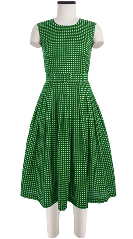 Florance Dress Crew Neck Sleeveless Long Length Cotton Musola (Dorothy Gingham Bright)