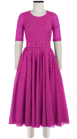 Aster Dress Crew Neck 1/2 Sleeve Midi Length Cotton Musola (Dorothy Gingham Bright)
