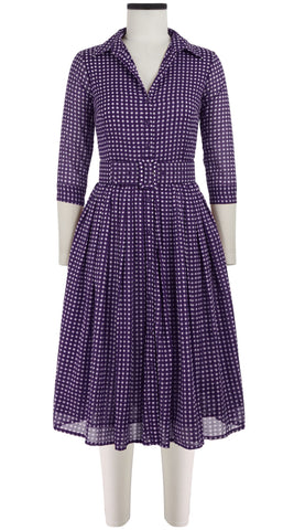Audrey Dress #2 Double Layer Shirt Collar 3/4 Sleeve Long Length Cotton Musola (Dorothy Gingham Bright)