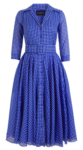 Aster Dress Shirt Collar 3/4 Sleeve Midi Length Cotton Musola (Dorothy Gingham Bright)