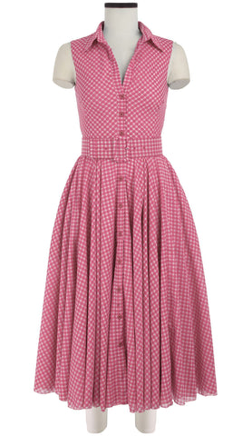 Aster Dress Shirt Collar Sleeveless Midi Length Cotton Musola (Dorothy Gingham Pastel)