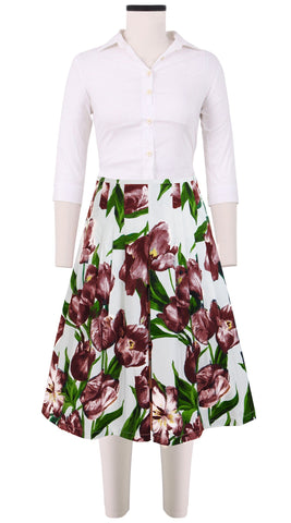 Zelda Skirt Cotton Stretch (Dutch Tulip White)