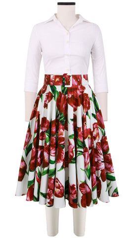 April Skirt Cotton Stretch (Dutch Tulip White)