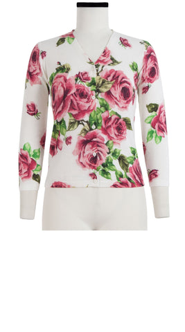 Charlotte Cardigan V Neck 3/4 Sleeve Silk Cashmere (Eden Rose White)