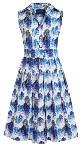 Audrey Dress #1_Feather Eching in Cobalt Blue Aqua_Cotton Stretch_Shirt Collar Sleeveless