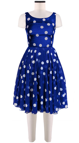 Aster Dress Boat Neck Sleeveless Cotton Musola (Fellini Dots)