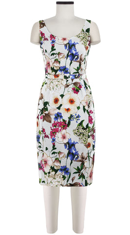 Julienne Dress Open U Neck Sleeveless Long Length Cotton Dobby Stretch (Florentine Flowers)