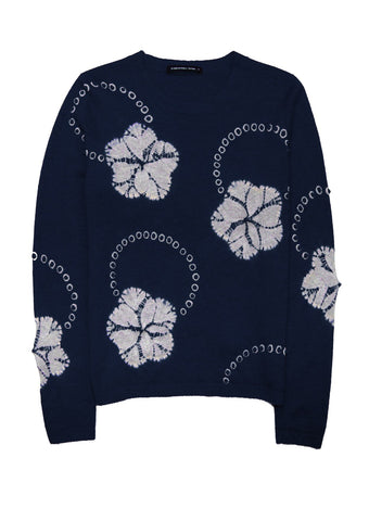 Carolina Pullover Crew Neck Long Sleeve (Flower Ring Shibori)