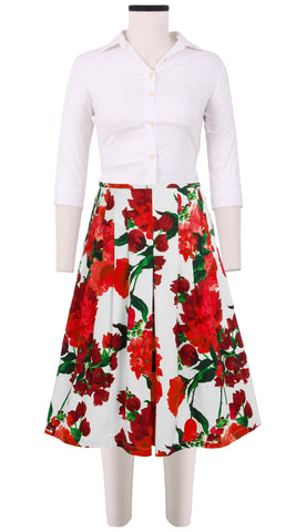 Zelda Skirt Cotton Stretch (Geranium White)