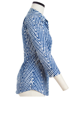 Katharine Shirt 3/4 Sleeve Cotton Stretch (Harringbone Shibori)