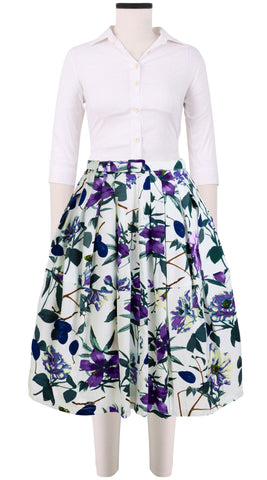 Claire Skirt Cotton Stretch (Hilo Hibiscus)
