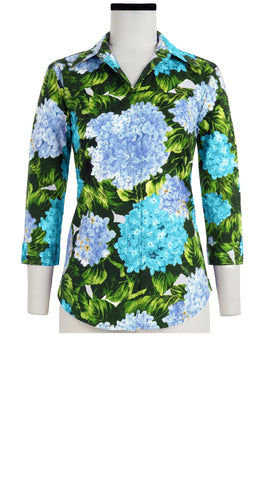 Katharine Shirt 3/4 Sleeve Cotton Stretch (Hydrangea)
