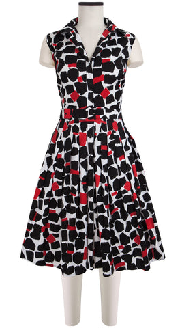 Audrey Dress #1_Koons in Black Indian Red_Cotton Stretch_Shirt Collar Sleeveless