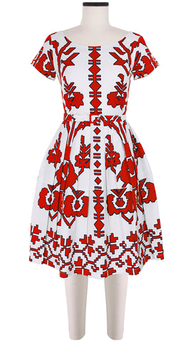 Rachel Dress Boat Neck Short Sleeve Cotton Stretch (Kos Embroidery)