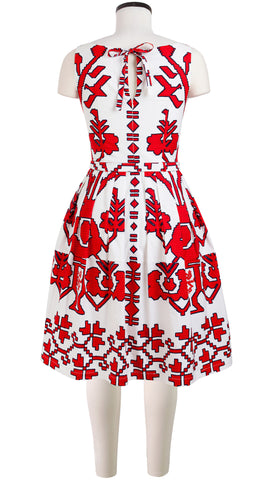 Sleeveless | Kos Embroidery | White Indian Red | Back | Shirt Dress By Samantha Sung