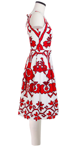 Sleeveless | Kos Embroidery | White Indian Red | Right | Shirt Dress By Samantha Sung