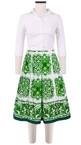 Zelda Skirt Cotton Stretch (Maiolica Tile)