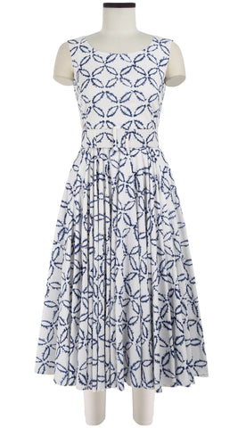 April Dress Boat Neck Sleeveless Midi Cotton Stretch (Moon Shibori)