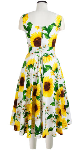 April Dress U Neck Sleeveless Midi Cotton Stretch (Oceana Sunflower)