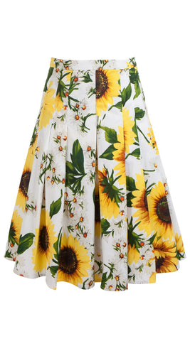 Zeller Skirt Cotton Poplin Stretch (Oceana Sunflower)
